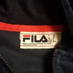Fila Jackets & Coats - Fila Velour Track Jacket With Logo Sleeve Taping